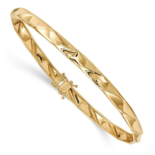 14kt Yellow Gold 7in Polished Twist Safety Clasp Bangle