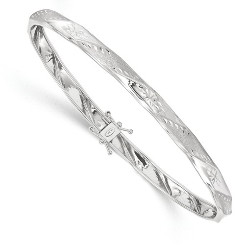 14kt White Gold 8 1/2in Flexible Fancy Diamond-cut Bangle