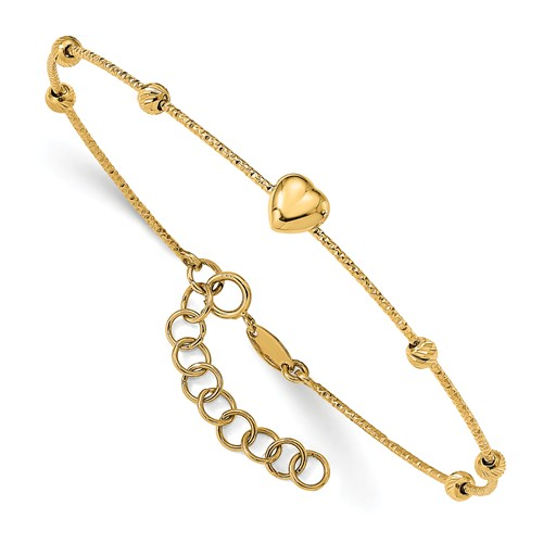14k Yellow Gold Diamond-cut Beads with Heart Flexible Bangle 7in