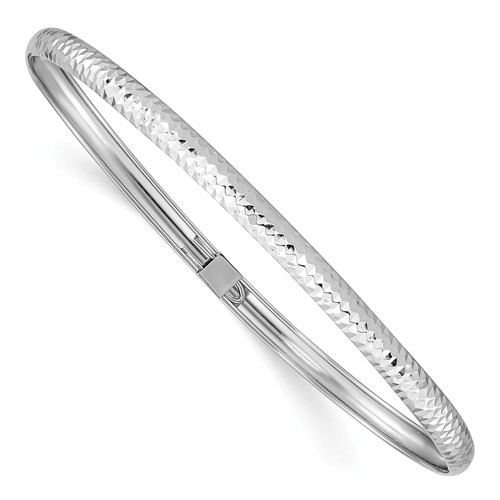 14k White Gold Textured Flexible Bangle 7in