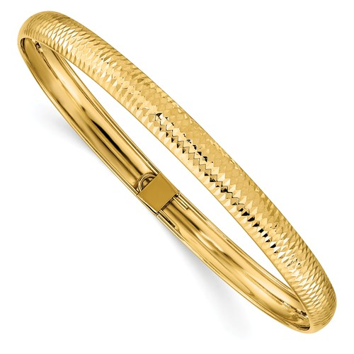 14k Yellow Gold Flexible Bangle with Textured Finish 7.5in