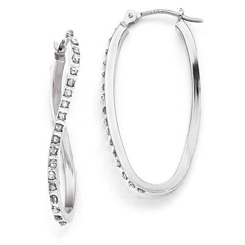 14kt White Gold Diamond Fascination Twist Hinged Hoop Earrings