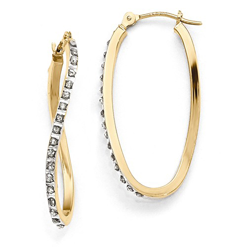 14kt Yellow Gold Diamond Fascination Twist Hinged Hoop Earrings