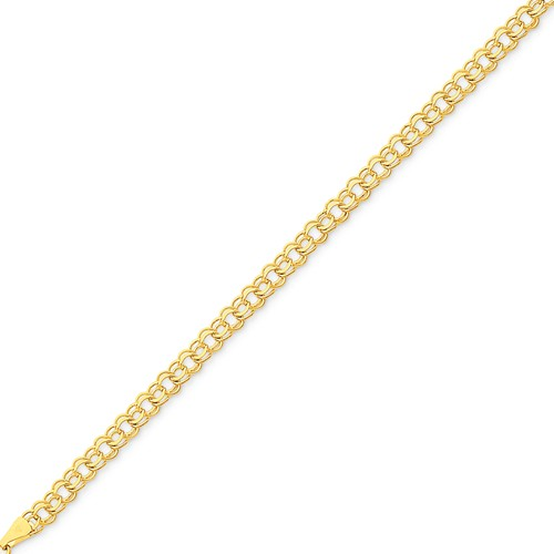 14kt Yellow Gold 7in Double Link Charm Bracelet 5mm