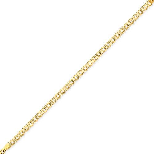 14kt Yellow Gold 7in Double Link Charm Bracelet 4mm