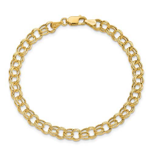 14kt Yellow Gold 7in Hollow Offset Link Charm Bracelet 6mm