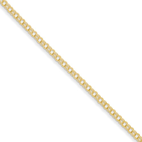14kt Yellow Gold 7in Double Link Charm Bracelet 3mm