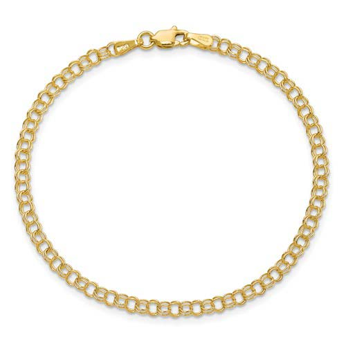 14kt Yellow Gold 7in Double Link Charm Bracelet 3.5mm