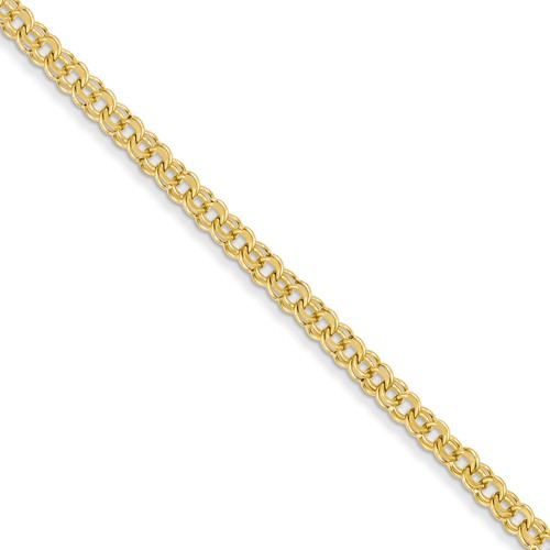 14kt Yellow Gold 7in Double Link Charm Bracelet 3.75mm