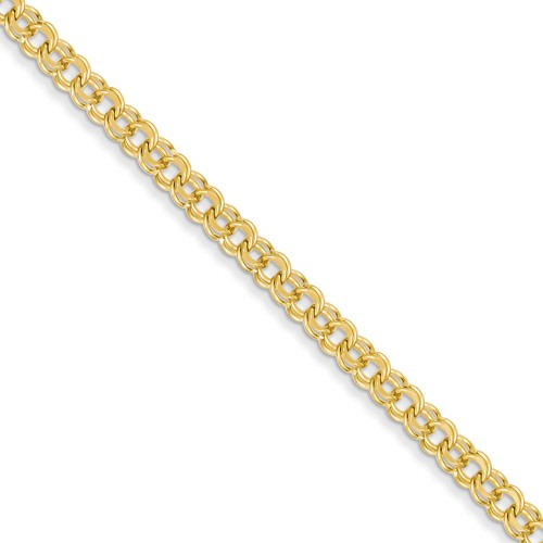 14kt Yellow Gold 7in Double Link Charm Bracelet 4.75mm