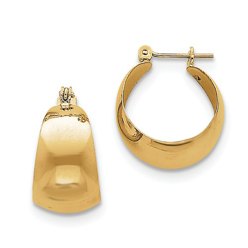 14kt Yellow Gold 1/2in Tapered Hoop Earrings 10.5mm