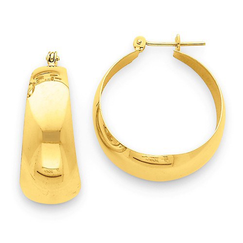 14kt Yellow Gold 3/4in Tapered Hoop Earrings 10.5mm