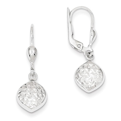 14kt White Gold Diamond-cut Leverback Earrings