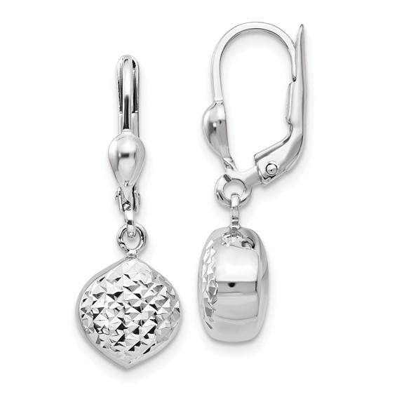 14kt White Gold Diamond-cut Leverback Earrings