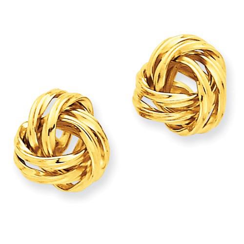 14kt Yellow 1/2in Double Twist Knot Post Earrings
