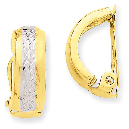 14kt Two-tone Gold 5/8in Non-Pierced Fancy Earrings