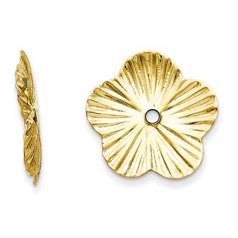 14kt Yelow Gold Textured Flower Earring Jackets