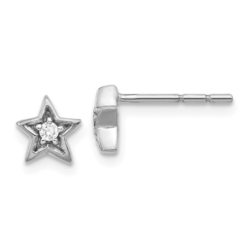 14k White Gold 05 Ct Diamond Star Post Earrings