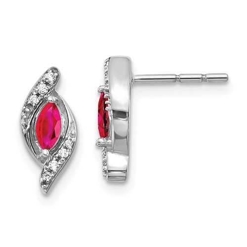 14k White Gold 1/3 ct tw Marquise-cut Ruby Earrings with Diamonds