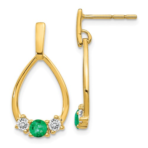 14k Yellow Gold 3/4 ct tw Emerald and White Sapphire Teardrop Earrings