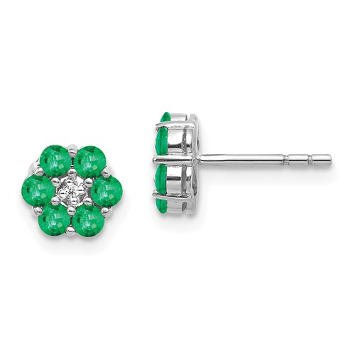 14k White Gold Floral 3/4 ct tw Emerald Earrings with Diamonds