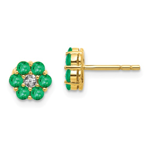 14k Yellow Gold Floral 3/4 ct tw Emerald Earrings with Diamonds