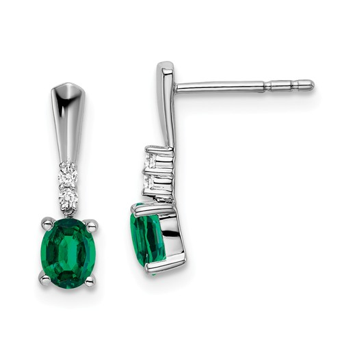14k White Gold 0.7 ct tw Oval Created Emerald And Diamond Earrings