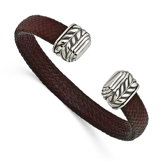 Edward Mirell 10mm Stainless Steel and Carbon Fiber Cuff Bracelet