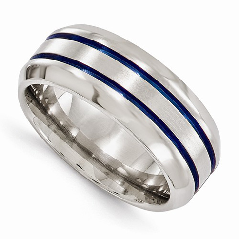 Edward Mirell 8mm Titanium Ring with Blue Anodized Grooves