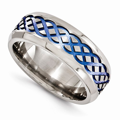 Edward Mirell 8mm Titanium Blue Celtic Brushed Wedding Band