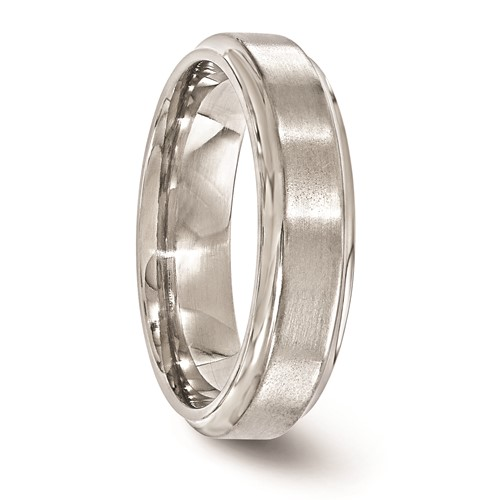 Edward Mirell Titanium 6mm Brushed Ring with Step Down Edges