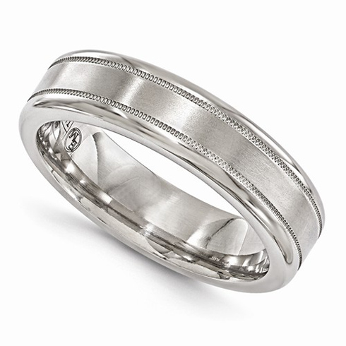 Edward Mirell Titanium 6mm Brushed Ring with Milgrain