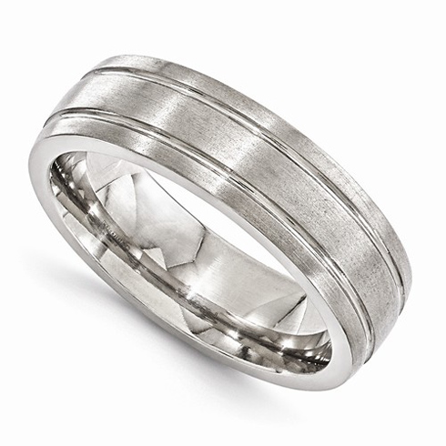 Edward Mirell Titanium 7mm Brushed Ring with Grooves