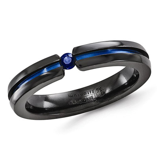 Edward Mirell 4mm Black Titanium Sapphire Ring Blue Anodized Groove