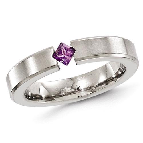 Edward Mirell 4mm Gray Titanium Amethyst Ring