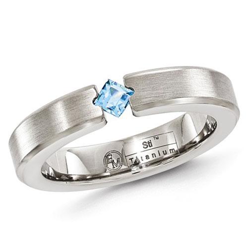 Edward Mirell 4mm Gray Titanium Blue Topaz Ring