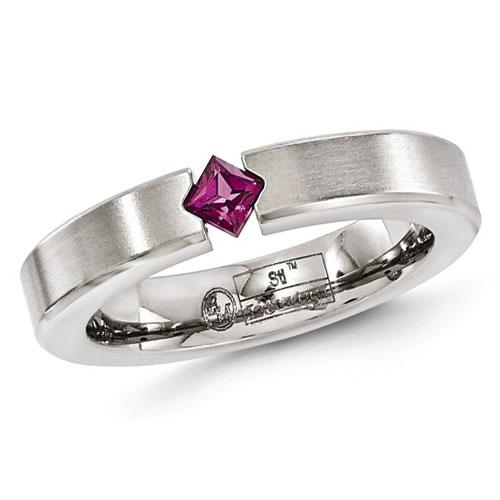 Edward Mirell 4mm Gray Titanium Rhodolite Garnet Ring