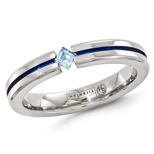 Edward Mirell 4mm Titanium Blue Topaz Ring with Blue Groove