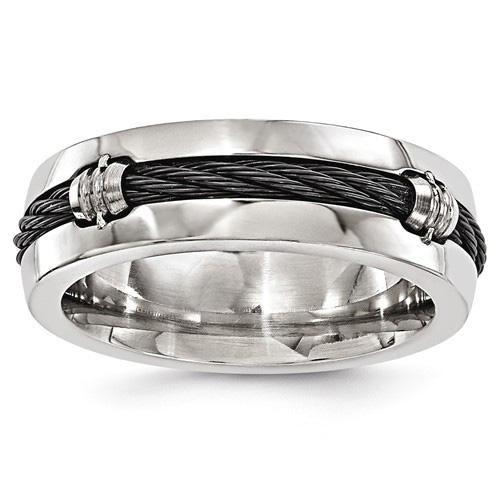 Edward Mirell 7mm Titanium & Cable Wedding Band