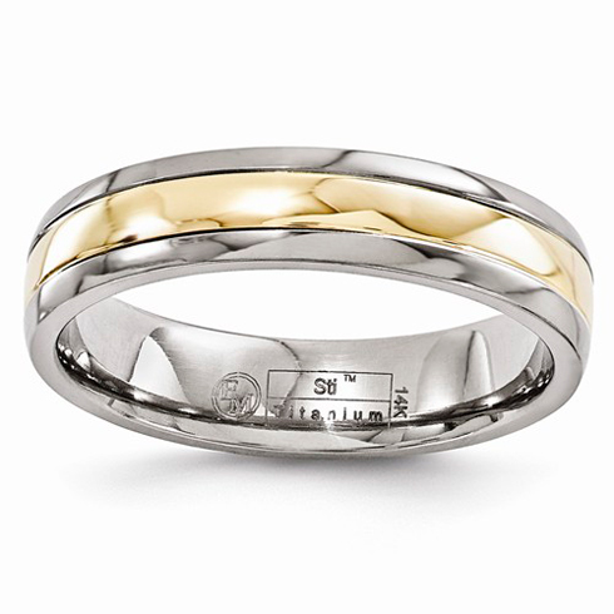 Edward Mirell 5mm Titanium with 14kt Gold Inlay Wedding Band