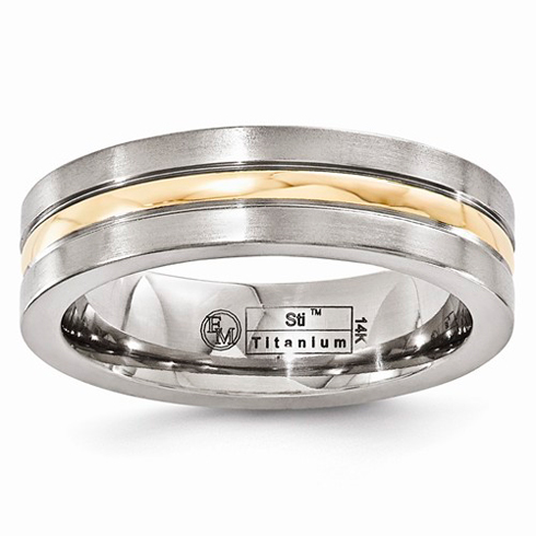 Edward Mirell 6mm Titanium and 14kt Gold Brushed Wedding Band