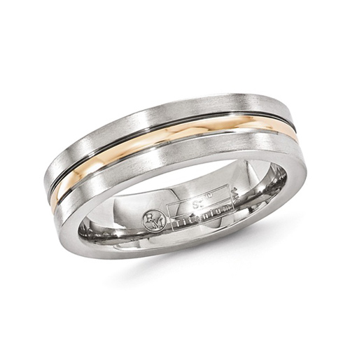 Edward Mirell 6mm Titanium and 14kt Rose Gold Grooved Band