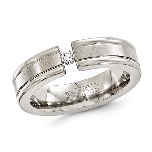 Edward Mirell 6mm Titanium Ring with Tension Set .10 ct Diamond