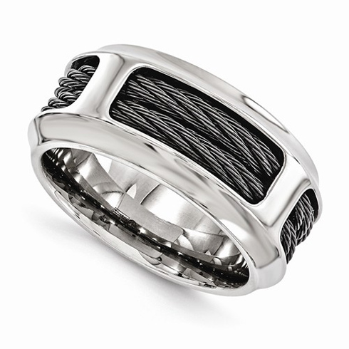 Edward Mirell Titanium 10.75mm Ring with Cables