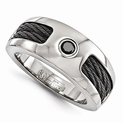 Edward Mirell Titanium 8mm Ring with Cables and Black Spinel