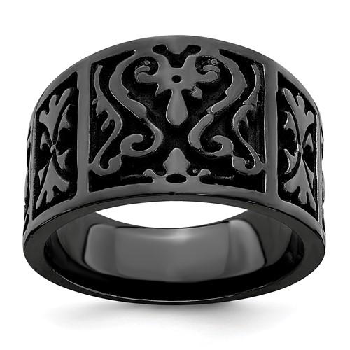 Edward Mirell Black Cast Titanium Ring with Heritage Design