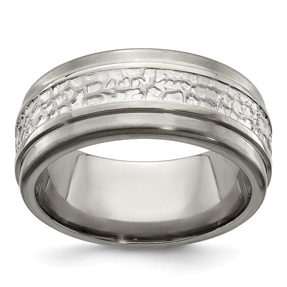 Edward Mirell Titanium 9mm Ring with Argentium Silver
