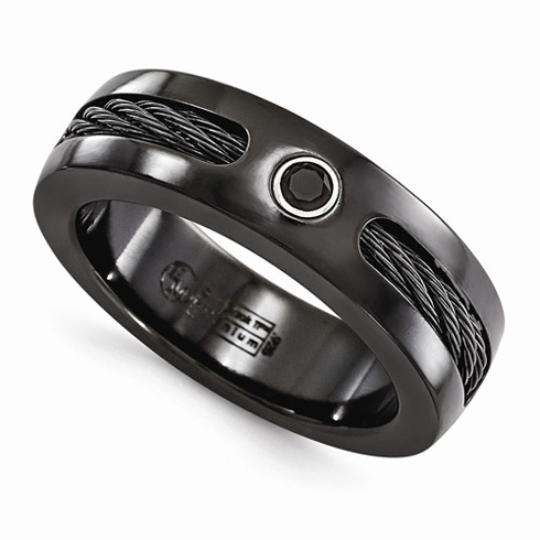 Edward Mirell Black Titanium 7mm Ring with Cable and Black Spinel