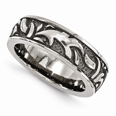 Edward Mirell Gray Cast Titanium 7mm Ring with Tribal Design