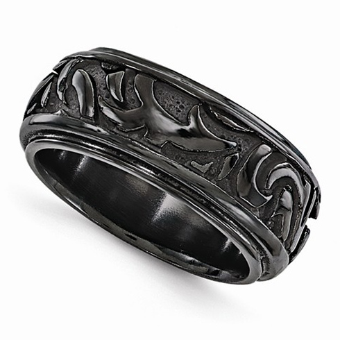 Edward Mirell Black Cast Titanium 7mm Ring with Tribal Design